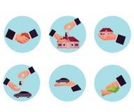 Manlig hand som ger pengar, bil, hus, tangent, handskakning royaltyfri illustrationer