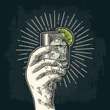 Manlig hand som rymmer ett exponeringsglas med gin Tappningvektorgravyr royaltyfri illustrationer