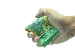 Manlig hand som rymmer 100 hundra natknotes Besparing, pengar, finansdonation, ge sig och affärsidé Isolerat på den vita backgrou Royaltyfri Bild