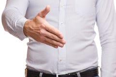 Manlig hand som skakar isolerade händer royaltyfria foton