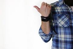 Manlig handfingervisning arkivfoton