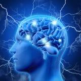manlig huvud 3D och hjärna med lightening vektor illustrationer