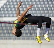 Manlig idrottsman nen Kanada för höjdhopp Arkivbild
