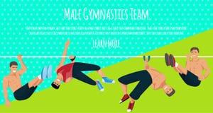 Manlig illustration f?r vektor f?r gymnastiklagbaner Konkurrenskraftigt gymnastiskt Horisontalst?ng Barr Balansbom stock illustrationer
