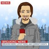 Manlig journalist som framme arbetar i vinter av staden med skyskrapor som rymmer mikrofonen vektor illustrationer