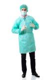 Manlig kirurg med en skalpell Fotografering för Bildbyråer
