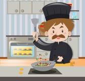 Manlig kock i svart dräktmatlagning royaltyfri illustrationer