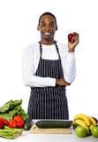 Manlig kock på en vit bakgrund Arkivbild