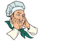 Manlig kock skrämd gest royaltyfri illustrationer