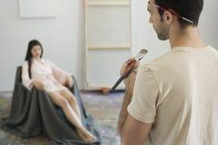 Manlig konstnär Painting Sketch Royaltyfria Foton
