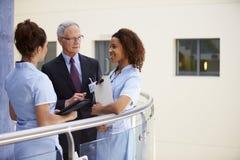 Manlig konsulent Meeting With Nurses som använder den Digital minnestavlan royaltyfri foto