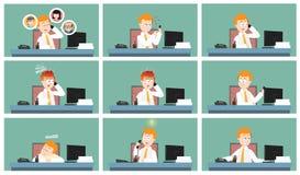 Manlig kontorsarbetare som kallar från hans samling för illustration för skrivbordtecknad filmtecken vektor illustrationer