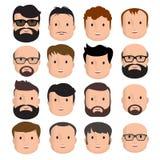 Manlig mänsklig framsida för män stock illustrationer
