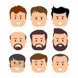 Manlig mänsklig framsida för män vektor illustrationer