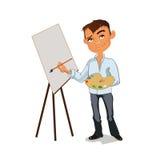 Manlig målningbild för konstnär med färgpaletten också vektor för coreldrawillustration Arkivbilder