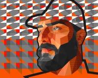 Manlig man för låg polygon i ett lock royaltyfri illustrationer