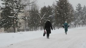 Manlig maraton för löparespringvinter, vintersnöfall stock video