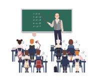 Manlig matematiklärare som förklarar tillägget till grundskolaungar eller elever Vänlig manundervisningmatematik eller stock illustrationer