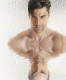Manlig modell med reflexion Fotografering för Bildbyråer