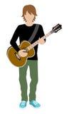 Manlig musiker - gitarr Arkivfoto