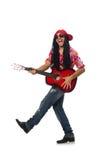Manlig musiker med gitarren som isoleras på vit Royaltyfri Foto
