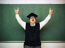 Manlig nerd i extatiskt lynne Fotografering för Bildbyråer