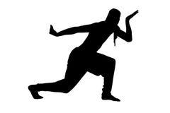 Manlig ninjakontur på vit bakgrund Royaltyfri Bild