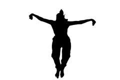 Manlig ninjakontur på vit bakgrund Royaltyfria Bilder