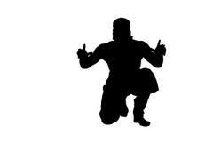 Manlig ninjakontur på vit bakgrund Arkivbilder