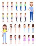 Manlig och kvinnlig konstruktörvektorillustration vektor illustrationer
