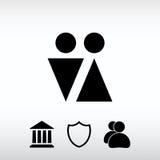 Manlig och kvinnlig teckensymbol, vektorillustration Plan designstyl Royaltyfri Foto