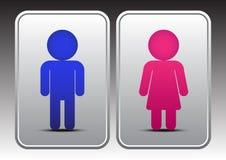 Manlig och kvinnlig toalettsymbol Fotografering för Bildbyråer