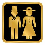 Manlig och kvinnlig toalettsymbolknapp Royaltyfri Foto