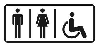 Manlig och kvinnlig toalettsymbolsvektor, fyllt plant tecken, isolerad fast pictogram Wc-symbol, logoillustration vektor illustrationer