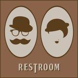 Manlig och kvinnlig toalettsymbolsymbol Plan design royaltyfri illustrationer