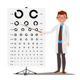 Manlig oftalmologivektor Sikt synförmåga Optisk undersökning Diagram för doktor And Eye Test i klinik ophthalmologist Arkivfoton