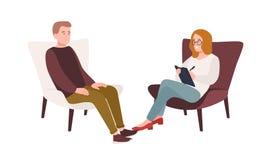 Manlig patient i fåtöljen och kvinnlig psykolog, psykoanalytiker eller psykoterapeut som framme sitter av honom och samtal royaltyfri illustrationer