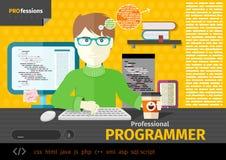 Manlig programmerare med digitala apparater på arbetsplats Fotografering för Bildbyråer