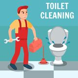 Manlig rörmokare Cartoon med skiftnyckelhjälpmedlet nära toalett vektor illustrationer