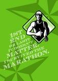 Manlig Retro affisch för maratonlöpare Arkivfoton