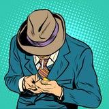 Manlig retro stil för rökarepopkonst royaltyfri illustrationer