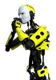 manlig robot för tolkning 3D på vit Arkivbild