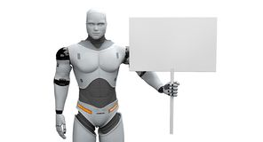 Manlig robot med det lilla samlade tomma tecknet stock illustrationer