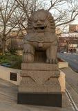 Manlig sida för Foo Dog skulpturnorr av den 10th gataplazaen, Philadelphia, Pennsylvania Arkivfoton