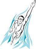 Manlig simmare Freestyle vektor illustrationer
