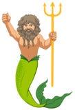 Manlig sjöjungfru med treudden vektor illustrationer