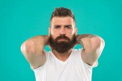 Manlig skönhet Barberaresalong Skäggmode och barberarebegrepp Bakgrund för turkos för skägg för skäggig hipster för man stilfull royaltyfria bilder