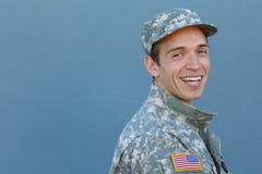 Manlig soldat för lycklig sund etnisk armé arkivbild