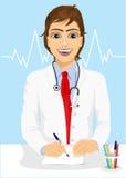 Manlig stilig doktor som skriver ett recept vektor illustrationer