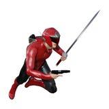 manlig Superhero för tolkning 3D på vit stock illustrationer